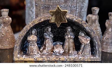 BAD ISCHL, AUSTRIA - DECEMBER 14: Nativity scene, creche, or crib, is a depiction of the birth of Jesus, Bad Ischl, Austria on December 14, 2014. - stock photo