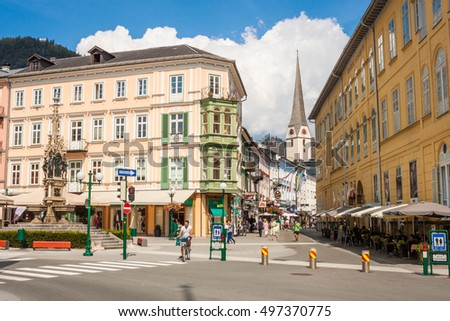 Bad Ischl, Austria - September 2, 2016: Schroepferplatz and Pfarrgasse, center of the resort town Bad Ischl, place for sightseeing, shopping and relaxing.