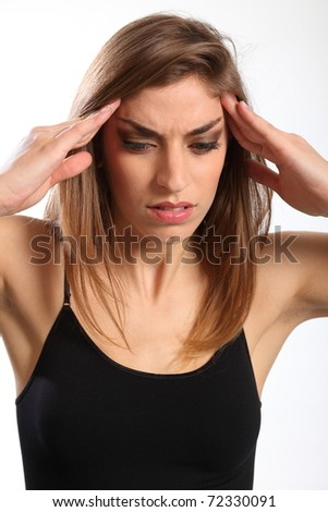 Bad migraine for young woman - stock photo