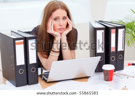 bad mood in the office because its boring - stock photo
