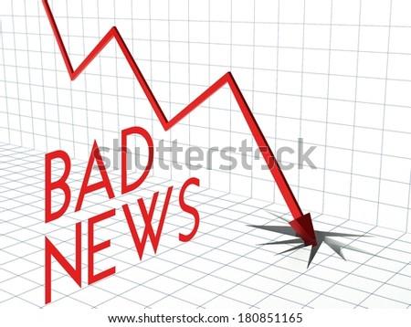 Bad news chart concept, crisis and down arrow - stock photo