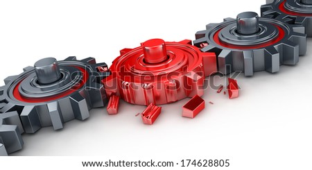 Bad red gear (done in 3d) - stock photo