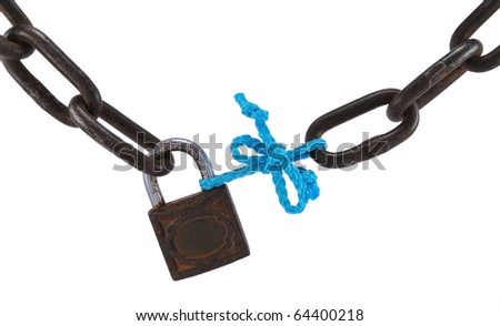 Bad security concept, with old metal chain, padlock and blue rope, isolated on white. - stock photo