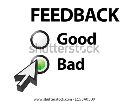 bad selected on a feedback question. Illustration design - stock photo