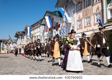 BAD TOELZ, GERMANY - MAY 26 - People in traditional costumes at the Corpus Christi procession at May 26, 2016 in Bad Toelz - Germany.