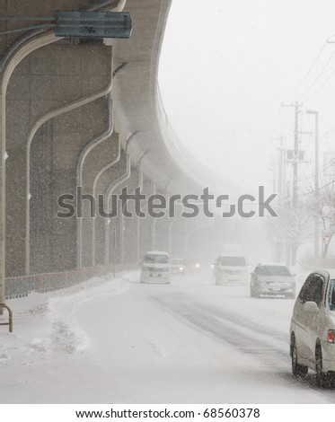 Bad visibility in winter - stock photo