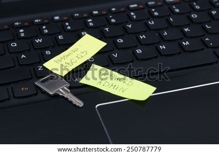 Bad, weak, invalid password on the sticky notes and security key on laptop keyboard. - stock photo