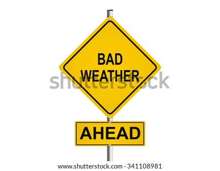Bad weather ahead. Road sign on the white background. Raster illustration.