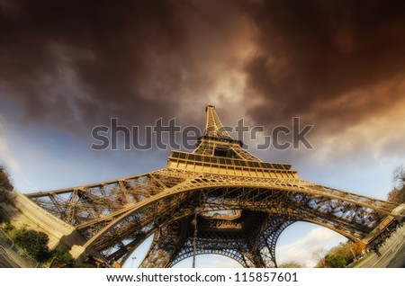 Bad Weather approaching Eiffel Tower in Paris