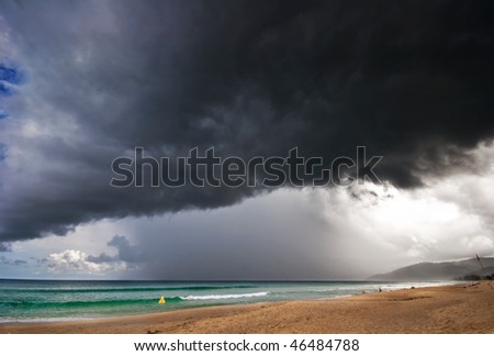 Bad weather around tropical island. Phuket island. Thailand - stock photo