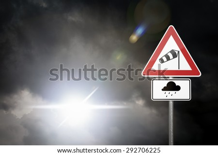 Bad Weather - Caution - Risk of Storm and Heavy Rain  - stock photo