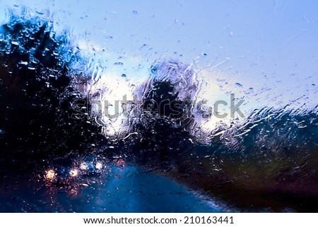 Bad Weather Driving on a Country Road - stock photo