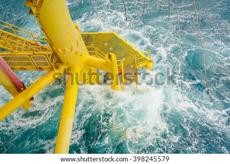 Bad weather in offshore oil and gas industry.Oil and gas platform in the gulf or the sea, The world energy, Offshore oil and rig construction. - stock photo