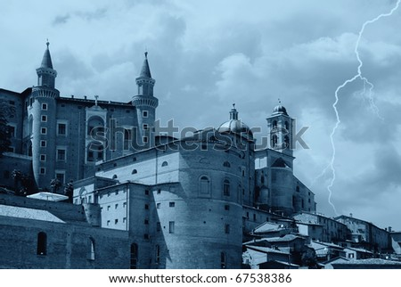bad weather over the castle - stock photo
