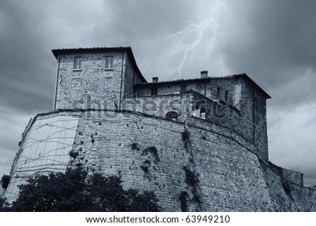 bad weather over the fort - stock photo