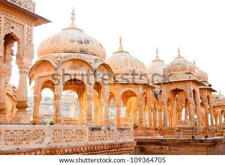 Bada Bagh Cenotaph in Jaisalmer,India - stock photo