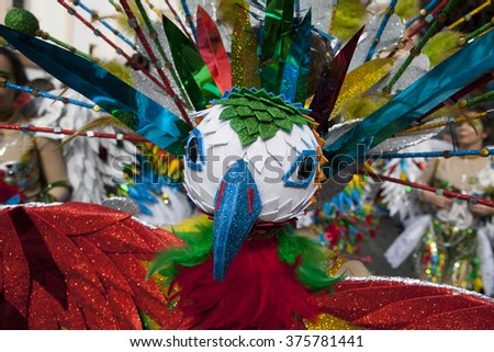 BADAJOZ, SPAIN, FEBRUARY 7: Costume detail with a multicolored bird at Carnival parade of comparsas at Badajoz City, Spain, on February 7, 2016. This is one of the best carnivals in Spain