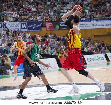 BADALONA, SPAIN - MAY 30: Ante Tomic (R) and Clevin Hannah at Spanish ACB Basketball League match between Joventut Badalona and FC Barcelona, final score 74-80, on May 30, 2015, in Badalona, Spain. - stock photo