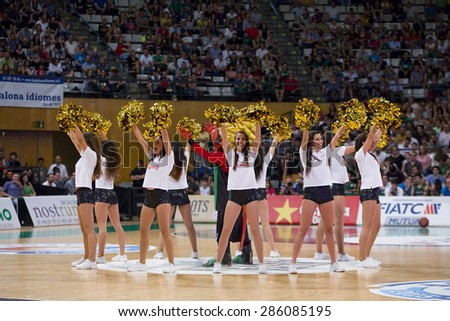 BADALONA, SPAIN - MAY 30: Cheerleaders perform at Spanish ACB Basketball League match between Joventut Badalona and FC Barcelona, final score 74-80, on May 30, 2015, in Badalona, Spain.