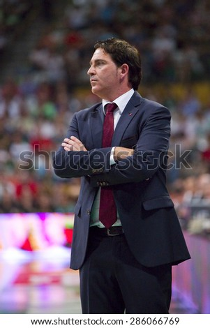 BADALONA, SPAIN - MAY 30: Xavi Pascual, coach of FCB, at Spanish ACB Basketball League match between Joventut Badalona and FC Barcelona, final score 74-80, on May 30, 2015, in Badalona, Spain. - stock photo
