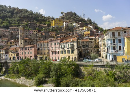 Badalucco, Italy - July 21, 2015: Street view of old town Badalucco iin the Province of Imperia in the Italian region Liguria.