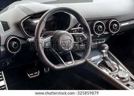 Baden-Baden, Germany - October 10, 2015: New models of the brand Audi in a dealer's showroom in Baden-Baden, Germany. Car interior - stock photo