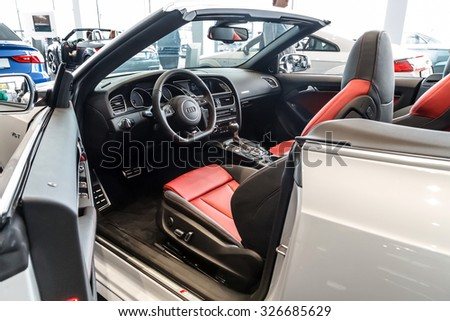 Baden-Baden, Germany - October 10, 2015: New models of the brand Audi in a dealer's showroom in Baden-Baden, Germany.  Interior Audi A5 Cabriolet - stock photo