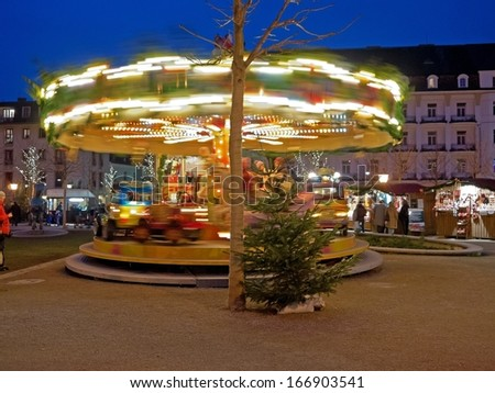 BADEN BEI WIEN, AUSTRIA - 11 DECEMBER 2013: A Christmas market takes place in front of the casino in Baden, Lower Austria. Baden bei Wien, Dec 11 2013 - stock photo