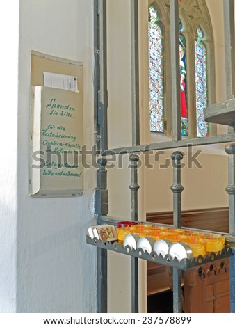 BADEN BEI WIEN, AUSTRIA - 14 DECEMBER 2014: The Cholerakapelle was donated after a cholera outbreak in the 19th century. The text on the sign asks for donations for the renovation of the chapel.  - stock photo