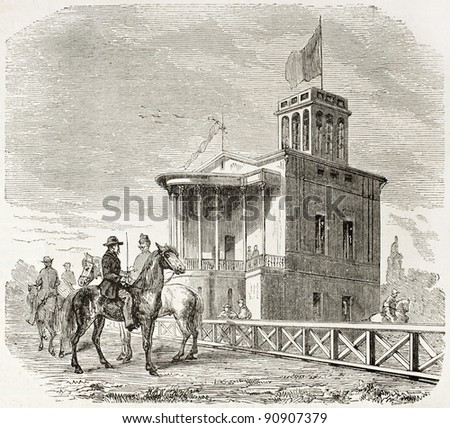 Baden racecourse old illustration: Grand Ducal stand. Created by Lallemand, published on L'Illustration, Journal Universel, Paris, 1858 - stock photo
