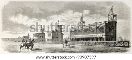 Baden racecourse old illustration: stands. Created by Lallemand, published on L'Illustration, Journal Universel, Paris, 1858 - stock photo
