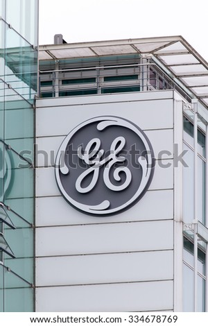 BADEN, SWITZERLAND. November 2nd 2015. The new General Electric logo has been installed at the former Alstom thermal power headquarters. - stock photo