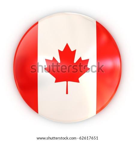 badge - Canadian flag - stock photo