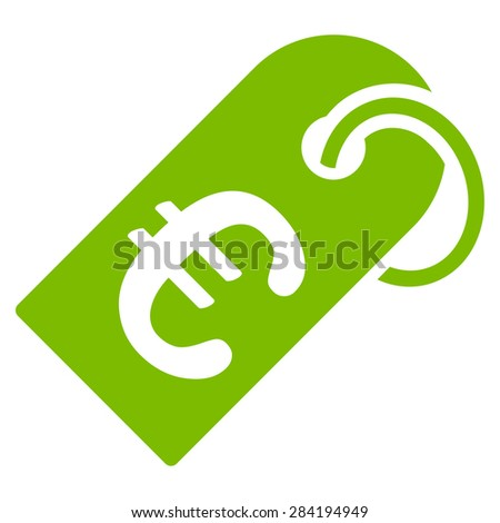Badge from BiColor Euro Banking Icon Set. Glyph style: flat, eco green symbol, rounded angles, white background. - stock photo