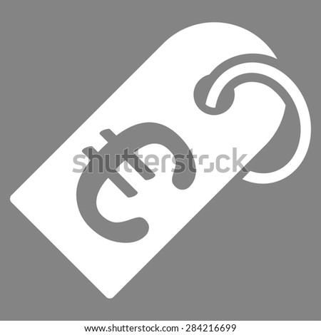Badge from BiColor Euro Banking Icon Set. Glyph style: flat, white symbol, rounded angles, gray background. - stock photo