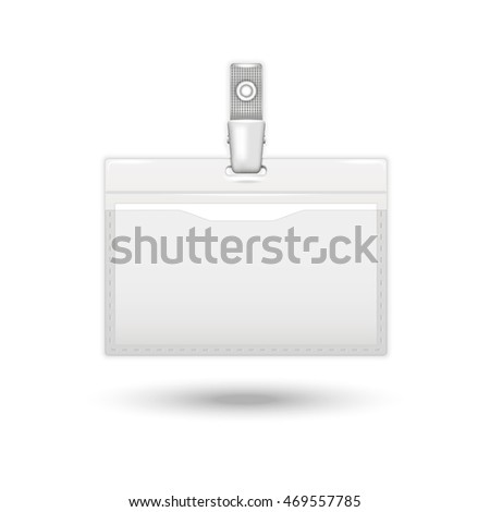 Badge icon. realistic card identification isolated on a white background with shadow