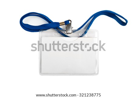 Badge identification white blank plastic id card  isolated