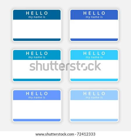 Badge name tag HELLO my name is. Colored empty stickers with shadow on gray. Bitmap copy my vector ID: 55867129 - stock photo