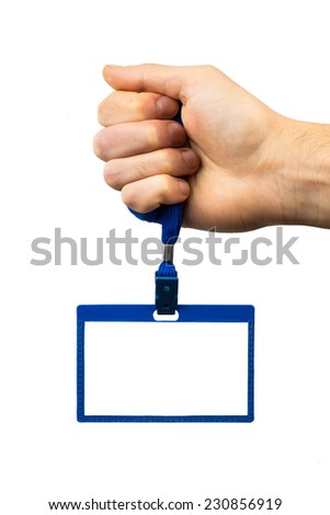 Badge of blue plastic in hand on white background - stock photo