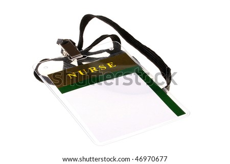 Badge of the staff nurse on a white background. - stock photo