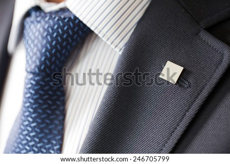 Man Lapel Badge Badge on The Lapel of His