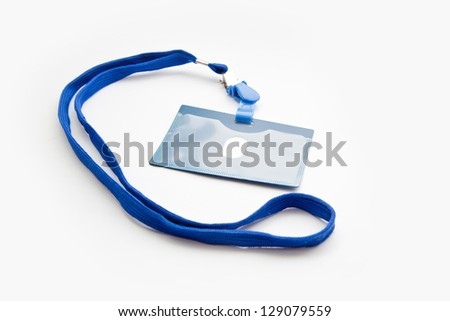 badge with blue ribbon isolated on white - stock photo