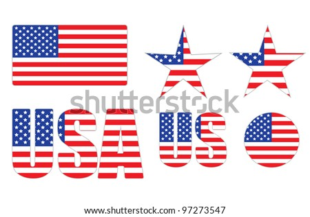 badges made of United States flag over white illustration
