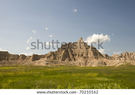 Badlands National Park in South Dakota in the Summer. - stock photo