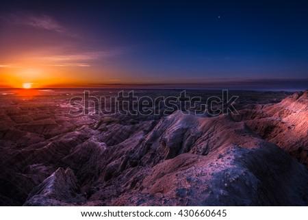 Badlands National Park South Dakota USA landscapes - stock photo
