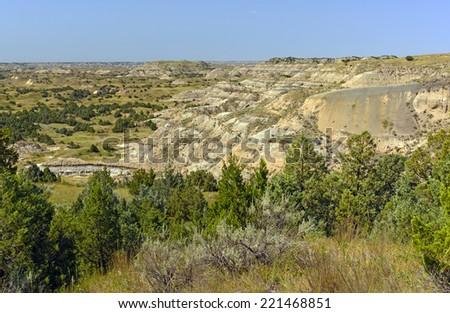 Badlands Panorama at Theodore Roosevelt National Park in North Dakota - stock photo