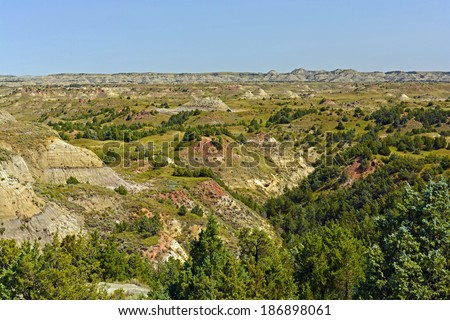 Badlands Panorama in Theodore Roosevelt National Park - stock photo