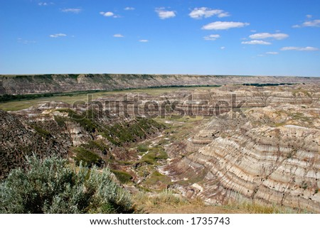 Badlands surrounding the valley of the Red Deer River, Alberta. - stock photo