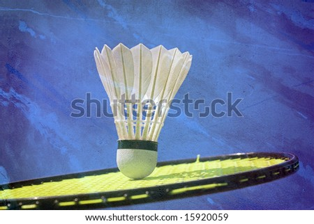 Badminton Racket and Shuttlecock Badminton Memory from My Sport - stock photo