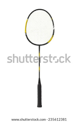 Badminton racket isolated on white background - stock photo